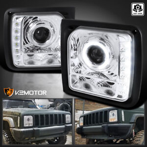 Fits 1997 2001 Jeep Cherokee Led Halo Projector Headlights Left Right