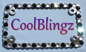 Clear Crystal Black Motorcycle Rhinestone Diamond Bling License Plate Frame