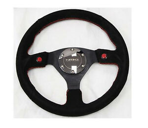 Nrg Steering Wheel Suede 320mm W 2 Horn Button chrome Ring Red Stitching