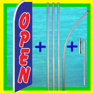 Open 15 Flag Kit W Pole Mount Advertising Sign Feather Swooper Bow Banner