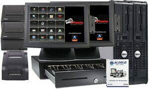 Aldelo Pos Pro Restaurant Bar Pizza Complete System 2 I3 Stations Windows 7 New
