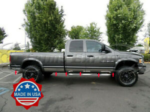 Fit 2002 2008 Dodge Ram Quad Cab Long Bed Rocker Panel Trim 5 5 stainless Steel