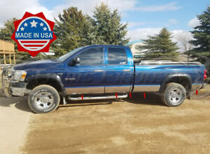Fit 2002 2008 Dodge Ram Quad Cab Long Bed Rocker Panel Trim 8 Stainless Steel
