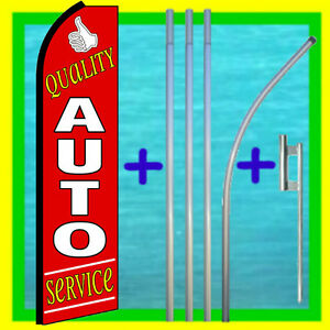Quality Auto Service Swooper Flag Kit Repair Advertising Sign Feather Bow Banner