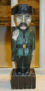 Vintage Wood Carving Of Military Soldier In Uniform Folk Art Military Army Wood