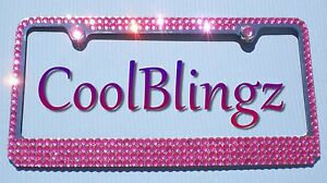 Rose Pink Mega Bling Rhinestone License Plate Frame Crystal Sparkle Screw Caps
