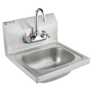 Ace 16 x15 Stainless Steel Wall Mount Hand Sink W Nsf Faucet Etl Hs 1615wg