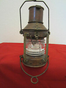 Vintage British Maritime Copper Anchor Light