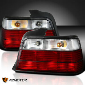 1992 1998 Bmw E36 318i 325i 4dr Red Clear Tail Lights Rear Brake Lamps Pair