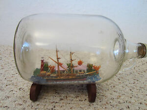 Maritime Lg Tall Ship Model In Glass Bottle