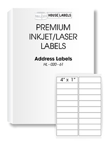 400 Sheets 8000 Labels 1 X 4 Fast Peel White Address Mailing Labels 20 Up
