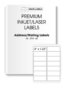 50 Sheets 700 Labels 4 X 1 1 3 Fast Peel White Address Mailing Labels 14 Up
