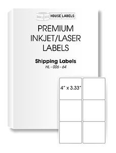Fba Shipping Labels 4 X 3 33 White Shipping Labels 6 up 100 Sheets 600 Labels