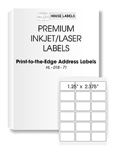 200 Sheets 3600 Labels 1 25 X 2 375 18 Up Fast Peel White File Id Labels