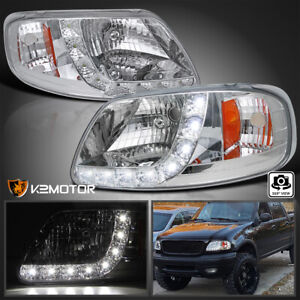 For 1997 2004 Ford F150 Smd Led Strip Clear 1pc Style Headlights Lamps L r 97 04