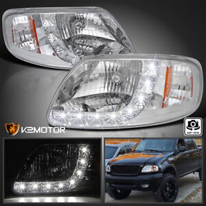 For 1997 2004 Ford F150 Smd Led Strip Clear 1pc Style Headlights Pair Lamps