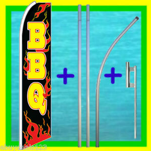 Bbq 15 Tall Feather Flag Kit W Mount Advertising Sign Swooper Bow Banner