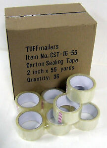36 Rolls Carton Sealing Clear Packing shipping box Tape 1 6 Mil 2 X 55 Yards