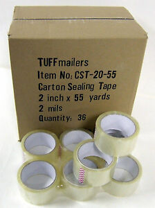 72 Rolls Carton Sealing Clear Packing shipping box Tape 2 Mil 2 X 55 Yards
