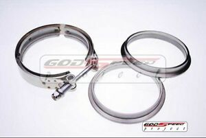Universal Ac077 3 5 Stainless V Band Turbo Flange Clamp Kit Exhaust Downpipe