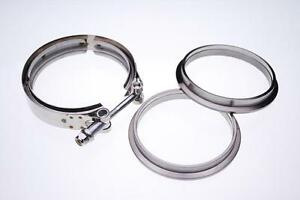 Universal Ac059 4 Stainless V Band Turbo Flange Clamp Kit Exhaust Downpipe
