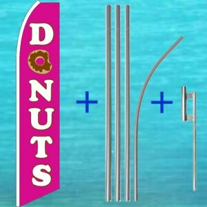 Donuts Feather Flag Pole Kit Advertising Sign Swooper Bow Flutter Banner