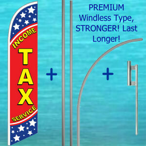 Income Tax Service Windless Feather Banner Flag 15 Premium Pole Mount Kit