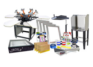 Screen Printing Press 4 Color 1shirt 18 Flash Dryer Exposure Unit Equipment Kit