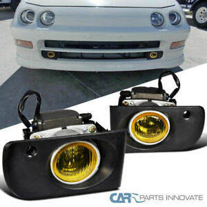 Acura 94 97 Integra Yellow Lens Fog Lights Front Driving Lamps Left right switch