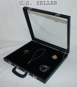 Double Sized Glass Top Display Case With Velvet Pad Handle