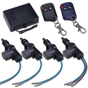 4 Door Power Central Lock Kit W 2 Keyless Entry Car Remote Control Conversion