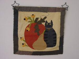 Primitive Black Cat Pumpkin Wall Hanging W Hanger New Primitives By Kathy