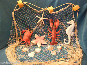 10 X 8 Decorative Nautical Fish Netting Crab Lobster Seahorse Starfish