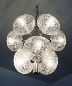 Globe Sputnik Chandelier Pendant Lamp Space Age 1960s Etched Glass Clear Chrome