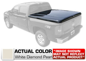 Hard Tonneau Cover Styled Truck Lid Painted Wht Diamond For Silverado Short Bed