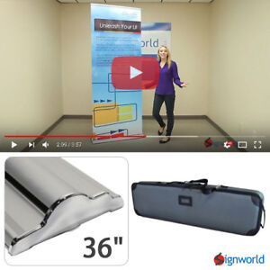 Retractable Roll Up Banner Stand Height Adjustable Trade Show Display Hd 36