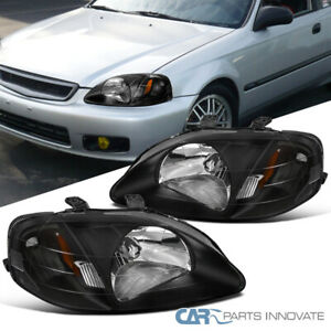 For 99 00 Honda Civic Replacement Jdm Black Headlights Head Lamps Left right
