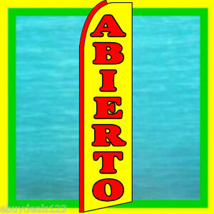 Abierto open Swooper Flag Advertising Sign Feather Flutter Bow Banner