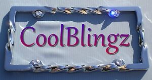 Twisted Metal License Plate Frame And Crystal Caps Made With Swarovski Elements