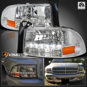 For 1997 2004 Dodge Dakota 98 03 Durango Clear Headlights Lamps W Led Drl Strip