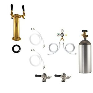 Double Tap Brass Tower Kegerator Conversion Kit Us Sankey W Co2 Draft Beer