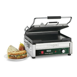 Waring Panini Grill Sandwich Maker Flat Ribbed Plate Concession Equip