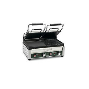 Waring Dual Panini Grill Ribbed Flat Iron Sandwich Maker Kitchen Equip