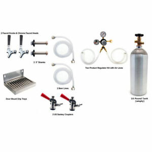 Two Tap Kegerator Conversion Kit W 10 Co2 Tank Draft Beer Bar Pub Fridge Set