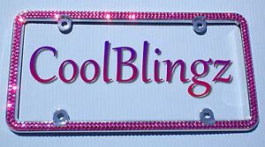 2 Row Fuchsia Hot Pink Rhinestone Crystal Sparkle License Plate Frame Bling