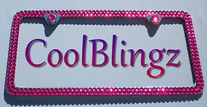 Super Bling Hot Pink Rhinestone Crystal Sparkle License Plate Frame Screw Caps