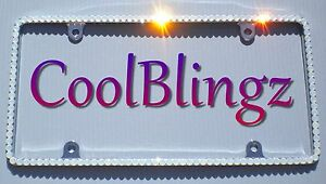 Thin White Opal Crystal Bling License Plate Frame Made With Swarovski Elements