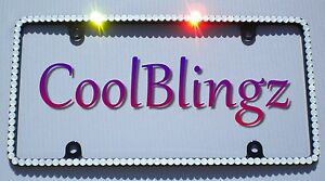 Thin White Opal Crystal License Plate black Frame Made With Swarovski Elements