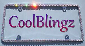 Thin Iridescent Baby Pink Crystal License Plate Frame Made W Swarovski Elements