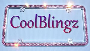 2 Row Pink Crystal Bling License Plate Frame Caps Made With Swarovski Elements